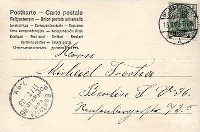 Przykład karty pocztowej z wielojęzycznym nadrukiem umożliwiającym wysyłkę międzynarodową; obieg: 16.07.1903.