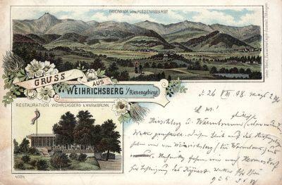 Gruss z wydawnictwa braci Metz z Tübingen, wykonany w technice chromolitografii; obieg: 26.08.1898.