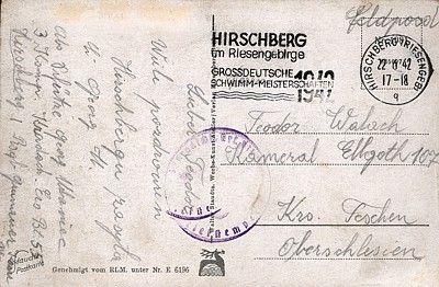 Pocztówka z poczty polowej z okresu II wojny światowej; obieg: 22.06.1942.