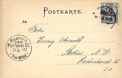 Karta pocztowa z długą linią adresową; obieg: 21.06.1901.