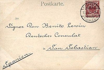 Pocztówka bez wielojęzycznego nadruku, wysłana z Jeleniej Góry do konsulatu niemieckiego w San Sebastian (Hiszpania); obieg: 15.09.1900.