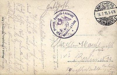 Pocztówka z poczty polowej z okresu I wojny światowej; obieg: 26.02.1915.