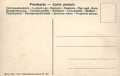 Karta pocztowa z wielojęzycznym nadrukiem, wydanej w roku 1909 (pole adresowe i korespondencyjne na tej samej stronie).
