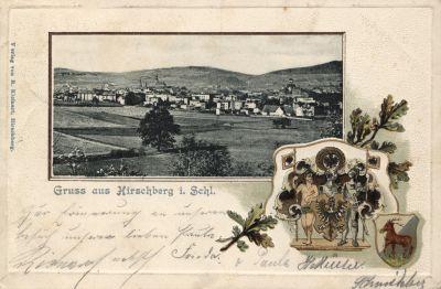Pocztówka z wydawnictwa Richarda Kleinera, ozdobiona tłoczeniem imitującym passe-partout oraz tłoczonym herbem; obieg: 24.07.1904.